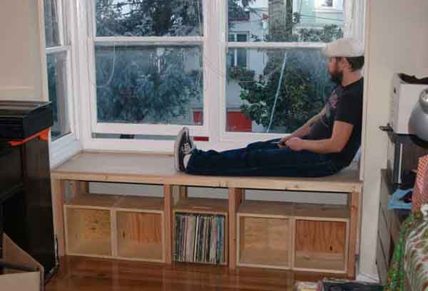 This window seat overlooks a lively San Francisco street. Underneath the  seat is storage for records, and behind that, deeper storage, accessible by  lifting ... - Wood Bodies Custom Carpentry -- Window Seats And Benches